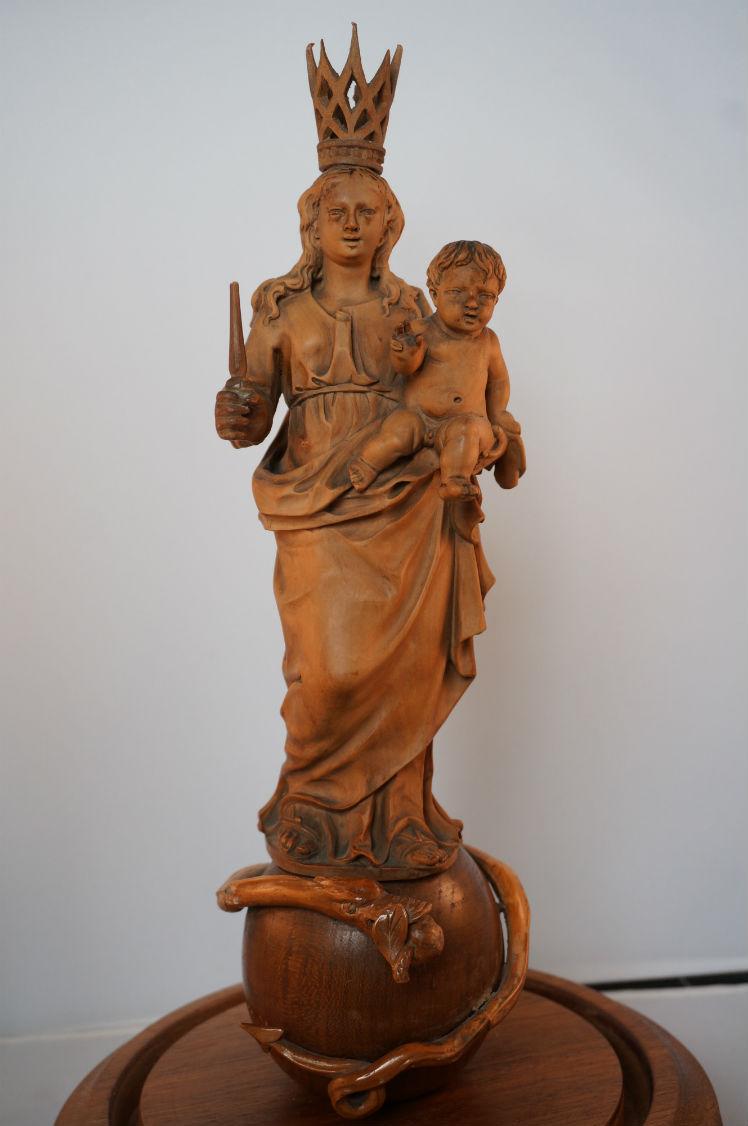 Antiek Palmhouten Mariabeeld