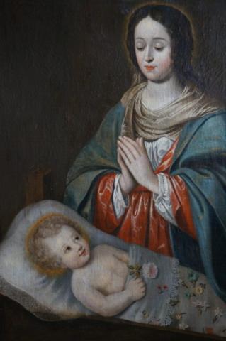 Maria en het kind Jezus schilderij