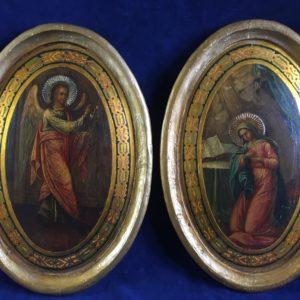 Iconen Annunciatie Engel Maria Schilderij Dullaert antiek